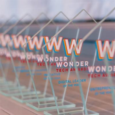 Row of glass awards